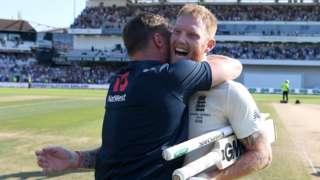 England all-rounder Ben Stokes (right) hugs batsman Jason Roy (left) after his match-winning century against Australia