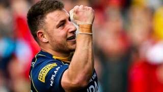Duncan Weir scores a try for Worcester