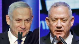 Composite image of Benjamin Netanyahu and Benny Gantz