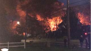 The blaze set off by a barn explosion
