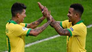 Brazil forwards Roberto Firmino (left) and Gabriel Jesus