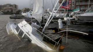 A boat damaged by Hurricane Sally in Pensacola, Florida. Photo: 16 September 2020