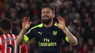 Giroud celebrates scoring for Arsenal