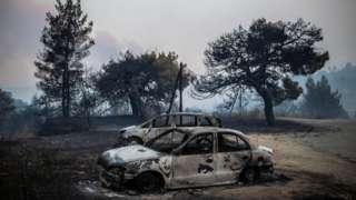 Abandoned, blackened cars on the island of Evia, Greece