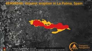 Imagem de satélite mostra em vermelho como a lava estava espalhada no dia 19 e, em amarelo, como está agora