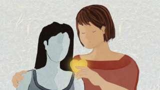 Ilustração de mulher e menina
