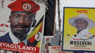 Bobi Wine and Yoweri Museveni campaign posters in Uganda - January 2021