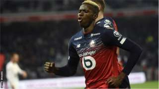 Nigeria striker Victor Osimhen in action for Lille