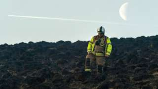 Firefighters at moorland fire near Marsden