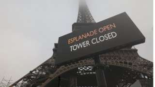 The Eiffel Tower in Paris was closed on Thursday