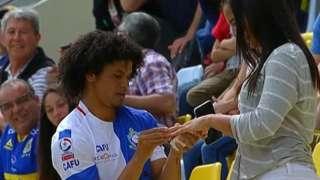 Chilean player Eduard Bello proposes to girlfriend as goal celebration