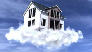 House floating on cloud