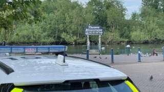 Police at Caversham Bridge