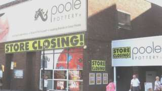 Poole Pottery with closing down banners