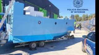 A photo of what Spanish police say is the captured narco-submarine