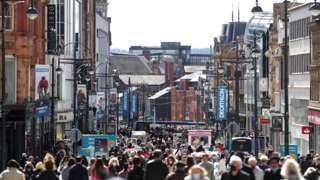 Crowds in Leeds on Briggate
