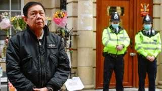 Myanmar's former ambassador to the UK Kyaw Zwar Minn outside the Myanmar embassy in London