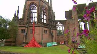 Butterfly installation at Coventry Cathedral
