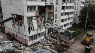 Ногинск. Вид на девятиэтажный жилой дом, в котором произошел взрыв газа