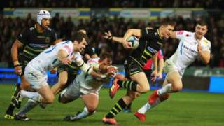 Fraser Dingwall's late first-half try restored Saints' lead against Exeter