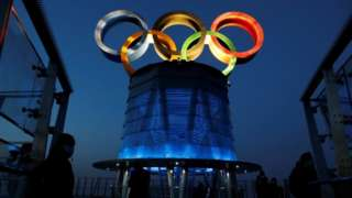 Olympic Tower, a year ahead of the opening of the 2022 Winter Olympic Games, in Beijing,