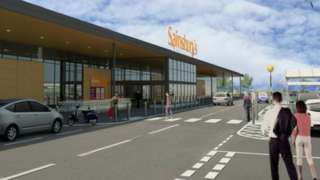 Image of artist impression of the new Sainsbury's in the plans for the new development