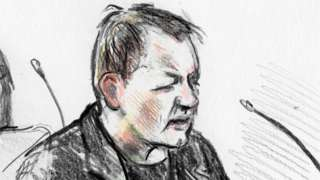 n April 25, 2018 Court drawing by Anne Gyrite Schütt made available by Danish news agency Ritzau SCANPIX shows accused Peter Madsen (R) during his trial at the courthouse in Copenhagen