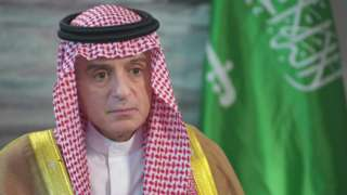 Saudi foreign minister Adel al-Jubeir during his interview with Lyse Doucet