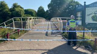 A police cordon on Millennium Bridge, Bute Park