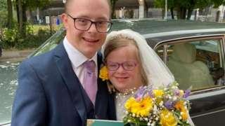 James and Heidi on their wedding day