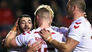 Jake Connor celebrates his England try