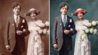 Colourised wedding photograph