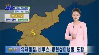 朝鲜中央电视台警告从中国吹过来的夹杂有害物质的黄沙尘土(Credit: KCTV)