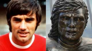 George Best and a statue of George Best