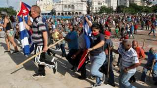 Protests against and in support of the government in Cuba