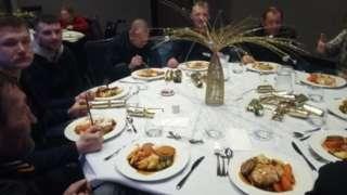 Homeless people eating Christmas dinner at The Hilton, Hull