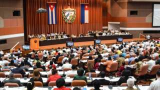 The Cuban parliament in the first session under the new government of President Miguel Diaz-Canel, at the Convention Palace in Havana, on 2 June 2018