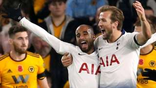 Lucas Moura celebrates with Harry Kane after heading Tottenham into a 2-0 lead