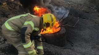 Fire at Springwell Quarry