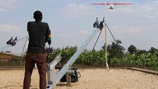 Drones wey dem dey use carri insecticide for Rwanda