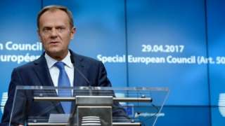 European Council President Donald Tusk at the EU summit on approving guidelines for negotiations with the EU on Brexit, 29 April 2017