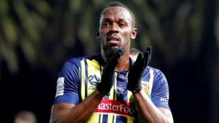 Usain Bolt in a Central Coast Mariners uniform