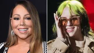 Mariah Carey (left) and Billie Eilish