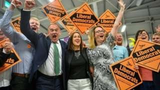 Lib Dems celebrate winning the 2019 Brecon and Radnorshire by-election