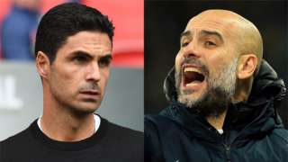 Arsenal manager Mikel Arteta and Manchester City manager Pep Guardiola