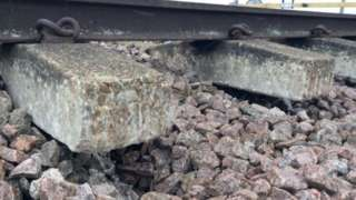 Damaged rail tracks between Billericay and Wickford