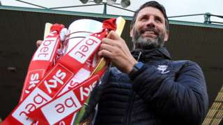 Lincoln City manager Danny Cowley with the League Two trophy