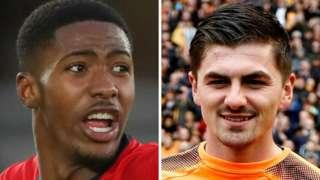 Shrewsbury's two January deadline day 2020 signings, Southampton right-back Kayne Ramsay (left) and Wolves keeper Harry Burgoyne