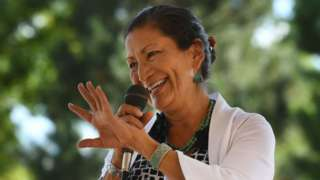 Native American candidate Deb Haaland who is running for Congress in New Mexico's 1st congressional district seat for the upcoming mid-term elections, speaks in Albuquerque, New Mexico.