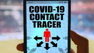 Mock up of a Covid-19 contact-tracing app